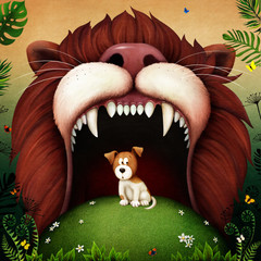 Fantasy fairytale illustration or poster for  fairy tale about  Lion and Puppy.