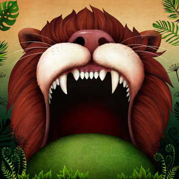 Fantasy fairytale Background for  fairy tale about   Lion's Mouth in the Jungle.