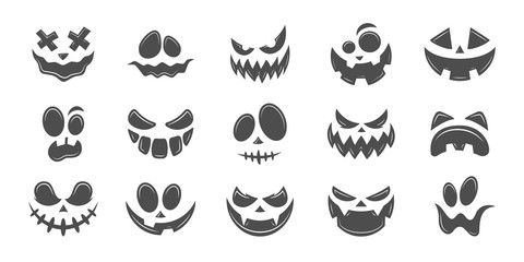 Scary and funny faces of Halloween pumpkin or ghost . Vector collection.