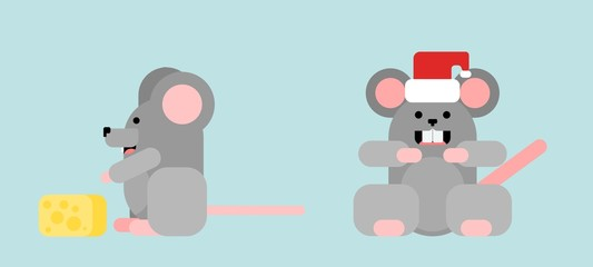 rodents mice in flat style. picture work