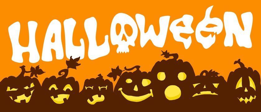 word halloween on an orange background pumpkins