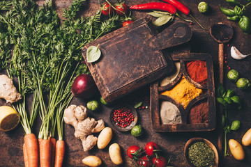 Fototapete - Fresh delicious ingredients for healthy cooking on rustic background