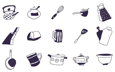 selection of everything for the kitchen doodles drawings
