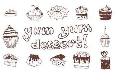 Doodle large set with pastry sweets sketch drawing