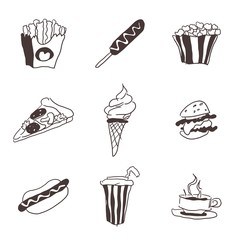 fast food small selection of doodles food