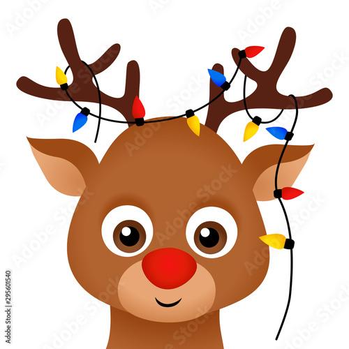Cute Funny Christmas Santa Reindeer With Christmas Lights