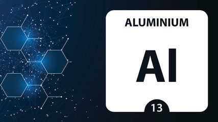 Aluminium 13 element. Alkaline earth metals. Chemical Element of Mendeleev Periodic Table. Aluminium in square cube creative concept. Chemical, laboratory and science background for university