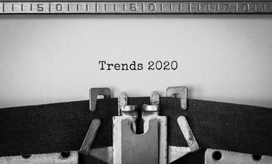 Text Trends 2020 typed on retro typewriter