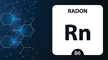 Radon 86 element. Alkaline earth metals. Chemical Element of Mendeleev Periodic Table. Radon in square cube creative concept. Chemical, laboratory and science background for university college use