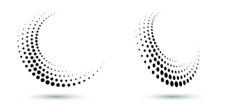 Halftone circle frame, abstract dots logo emblem design element for any project. Round border icon or backgroud. Vector EPS10 illustration. Abstract dotted halftone vector with differents perspective.