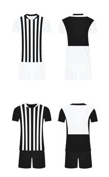 White and black soccer shirt and shorts. vector illustration