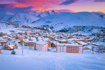 Fantastic ski resort at sunset in the French Alps, Europe