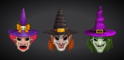 Cartoon witches faces on dark background. Creepy Halloween witch masks set.