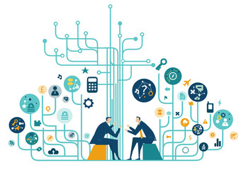 Two business people talking about the deal. High tech electronic, microchips, icons and communication symbols at the background. Business concept illustration.