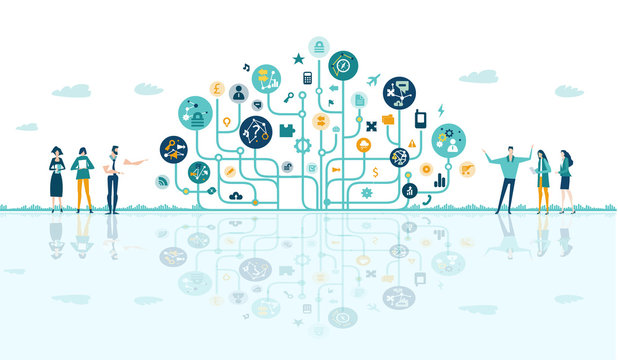 Business people talking next to tech tree, made of icons and communication symbols. Business concept illustration.