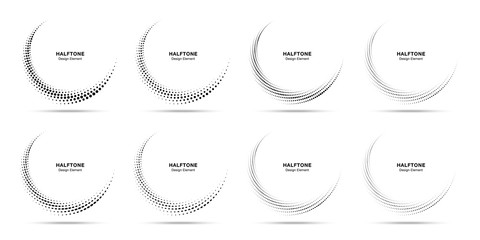 Wall Mural - Halftone circle dotted frame circularly distributed set. Abstract dots logo emblem design element. Round border Icon using halftone circle dot pattern. Half tone circular background texture. Vector