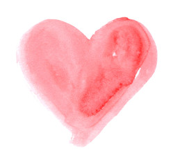 Hand-drawn painted cute pink heart, element for design. Valentine's day. For holiday, postcard, poster, carnival, banner, birthday and children's illustration. Watercolor Beautiful heart. Love