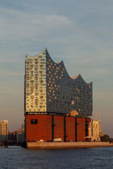 Elbphilharmonie in the harbour of Hamburg, Germany in evening light.
