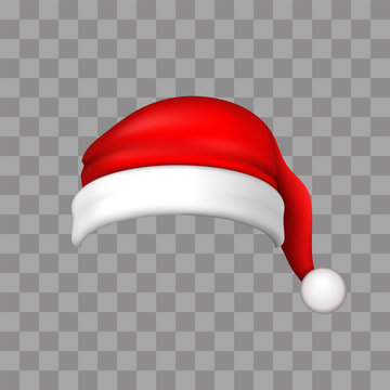 Santa Claus hat 3D. Realistic Santa Claus hat isolated on transparent background. Red funny cap silhouette. Merry Christmas clothes cute design. New year decoration wear costume. Vector illustration