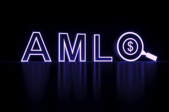 AML neon concept self illumination background 3D illustration