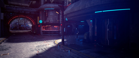 Fotomurales - Empty street of a futuristic city. Buildings with neon lights. Photorealistic 3d illustration in the style of cyberpunk. Urban landscape.