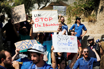 Israelis protest in support of the Kurdish people opposite to the Turkish embassy in Tel Aviv