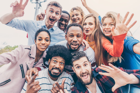 Friends with diversity background having fun and spending time together