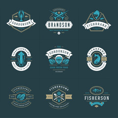 Seafood logos or signs set vector illustration fish market and restaurant emblems templates design