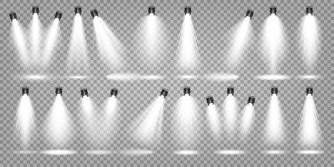 Garden Poster Light, shadow Vector spotlight set. Bright light beam. Transparent realistic effect. Stage lighting. Illuminated studio spotlights.