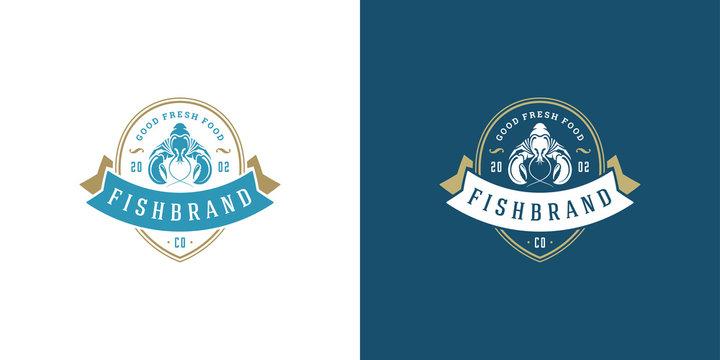 Seafood logo or sign vector illustration fish market and restaurant emblem template design lobster silhouette