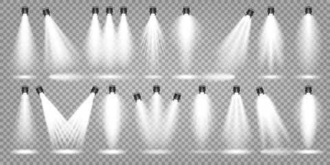 Tuinposter Licht, schaduw Vector spotlight set. Bright light beam. Transparent realistic effect. Stage lighting. Illuminated studio spotlights.