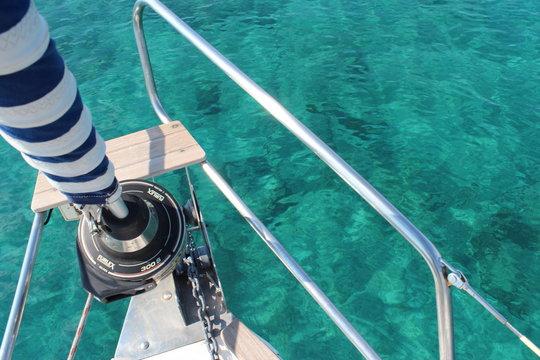 yacht ancor in blue sea of greece