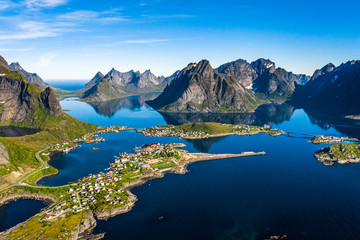 Foto op Canvas Nachtblauw Lofoten is an archipelago in the county of Nordland, Norway.
