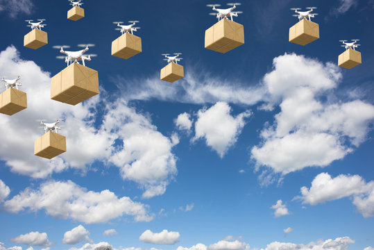 Drone delivery future transportation in logistics business concept