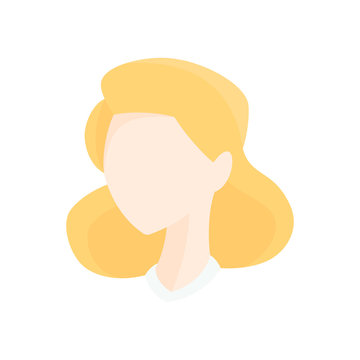 Vector illustration of a blonde faceless woman with a vintage style victory roll hairstyle. 1930s, 1940s, 1950s.
