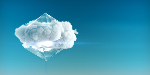 cloud enclosed in a crystal structure with luminous faces and glass sides concept of cloud service of cloud computing and big data 3d rendered illustration.