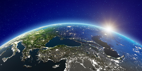 Fototapete - East Europe from space