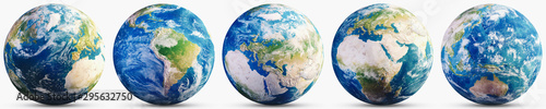 Wall mural Planet Earth continent map set