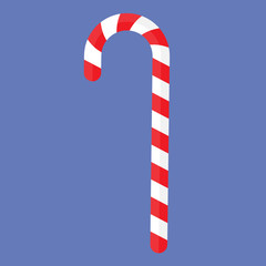 Vector illustration of an isolated Christmas red and white candy cane sweet.