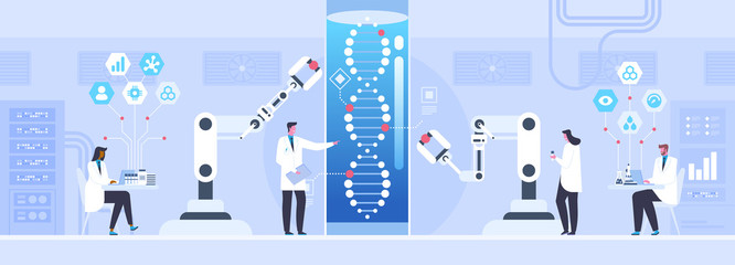 Genetic science flat vector illustration