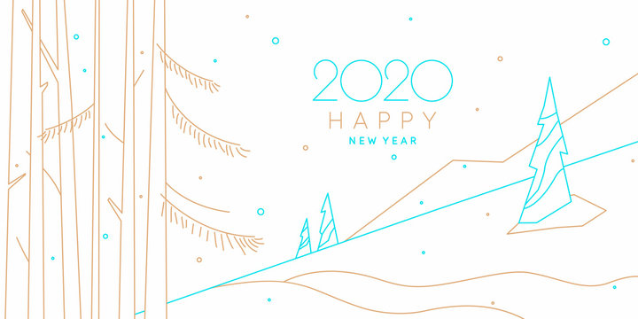 Background with the inscription Happy New Year. Vector illustration in flat style with gold lines.