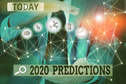 Word writing text 2020 Predictions. Business photo showcasing statement about what you think will happen in 2020 Picture photo system network scheme modern technology smart device