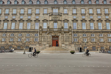 Wide angle view of the main building and the Platz in front of Christiansborg Slot Copenhagen, Denmark