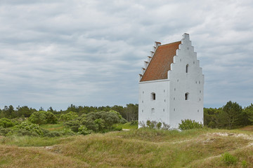 Den Tilsandede Kirke, also known as The Buried Church or The Sand-Covered Church near Skagen Denmark