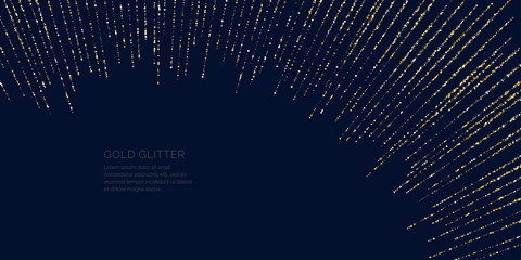 Background with gold glitter to place the inscription. Poster with lines consisting of particles. Wall mural