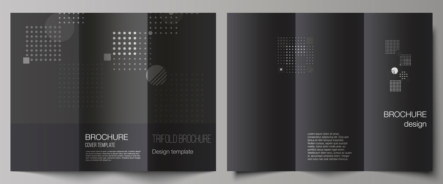 The minimal vector illustration of editable layouts. Modern creative covers design templates for trifold brochure or flyer. Abstract vector background with fluid geometric shapes.