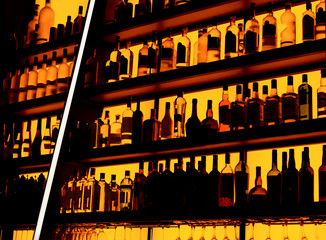 Rows of bottles sitting on shelf in a bar, trademarks deleted
