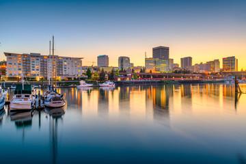 Fototapete - Tacoma, Washington, USA downtown skyline at dusk