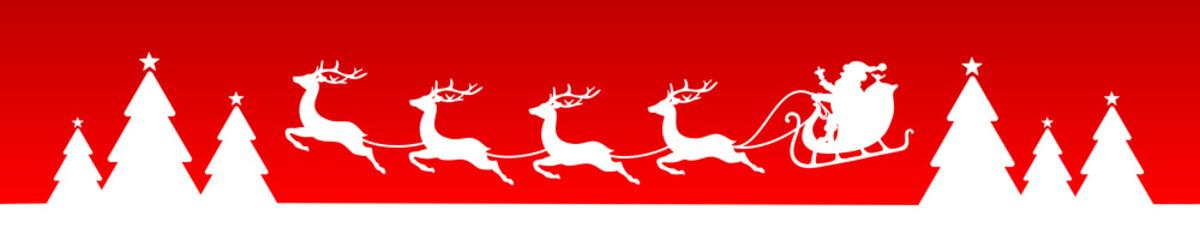 Wall Mural - Banner Fliegender Weihnachtsschlitten Weiß Roter Hintergrund