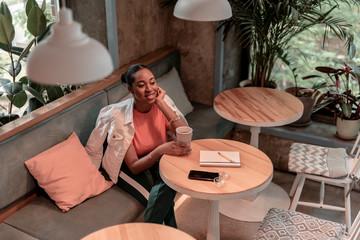 Joyful woman spending free time in cafe stock photo